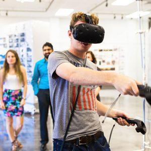 Student testing Virtual Reality equipment
