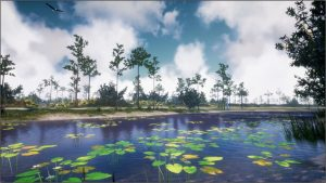 The Virtual UCF Arboretum, the waterbody view as an example of an immersive informal learning virtual nature application, October 2018.